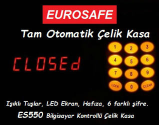 EUROSAFE Çelik Kasa Işıklı Tuş Takımı ve Ekran Görüntüsü